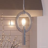 """Luxury Modern Pendant Light, 12.25""""H x 6.5""""W, with Industrial Chic Style, Polished Nickel Finish by Urban Ambiance"""