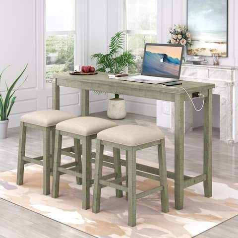 4-Piece Counter Height Table Set with Leather Padded Stools and Socket