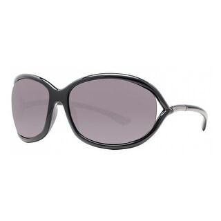 Tom Ford Jennifer TF008 199 Shiny Black Smoke Grey Soft Square Sunglasses - Shiny Black - 61mm-16mm-120mm