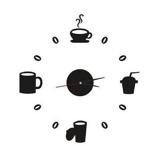 Unique Bargains Clock Design Coffee Mug Cup Wall Decals DIY Mirror Wall Sticker Home Decor