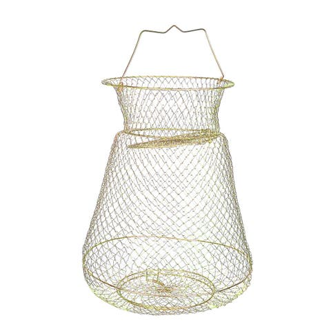 "Unique Bargains 0.6"" x 0.6""Metal 3 Layers Spring Design Fishing Landing Net Fish Basket Cage for Fishermen Gold Tone"