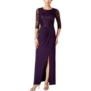 Alex Evenings Womens Petites Formal Dress Lace Sequin