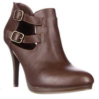 SC35 Saraah Cutout Ankle Booties, Dark Cognac
