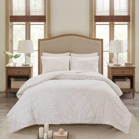 Madison Park Osanna White Tufted Cotton Chenille Palm Duvet Cover Set