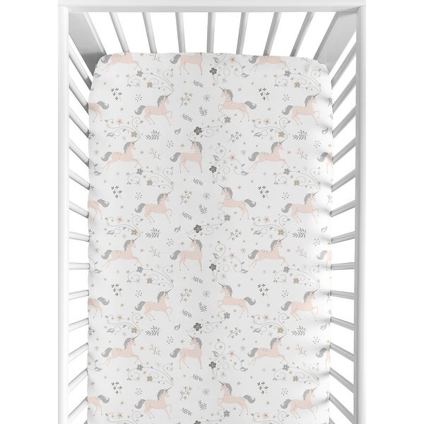 Sweet Jojo Designs Pink, Grey and Gold Unicorn Collection Fitted Crib Sheet. Opens flyout.