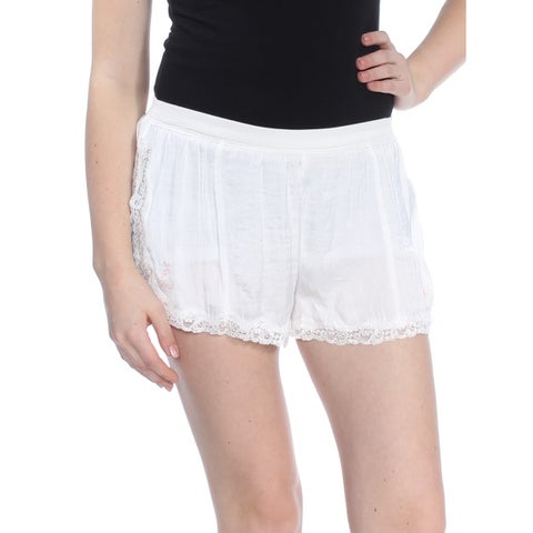 FREE PEOPLE Womens Ivory High Side Shortie Lace Trim Short Size: M