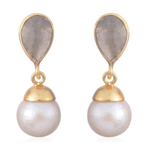 Silver Labradorite Fresh Water Pearl Silver Dangle Earrings Ct 3