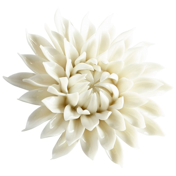 "Cyan Design 09113 Wall Flowers 1-1/2"" x 4-1/4"" Botanical Ceramic Wall Decor - Off White Glaze"