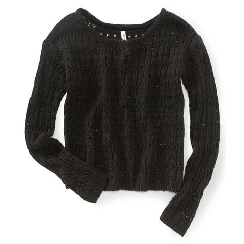 Aeropostale Womens Crochet Pullover Knit Sweater