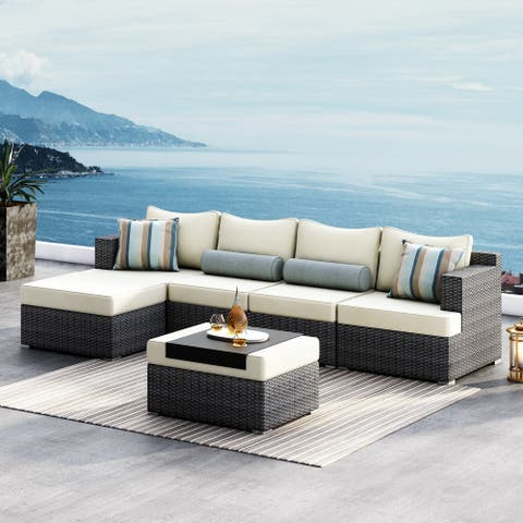 Corvus Yolanda 6-piece Sectional Conversation Sofa Set with Sunbrella Fabric