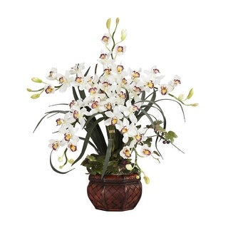 Nearly Natural Cymbidium with Decorative Vase Silk Arrangement