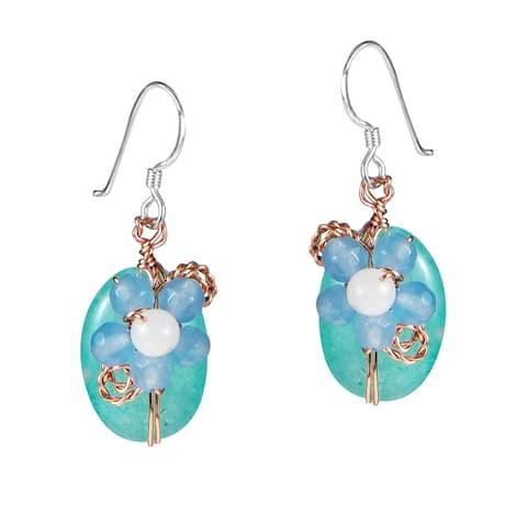 Handmade Sweet Daisy Aventurine Floral Nest Dangle Earrings (Thailand) - Blue
