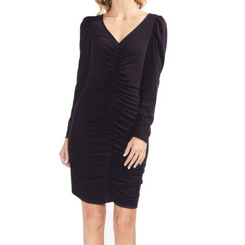 Vince Camuto Black Womens Size Small S Puff-Sleeve Sheath Dress