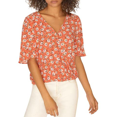 Sanctuary Womens Wrap Top Floral Print Hi-Low - Spring Fever