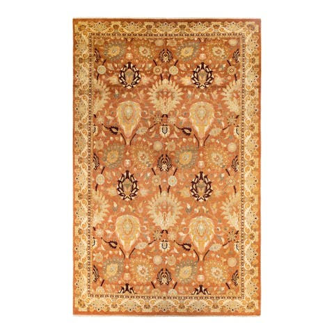 """Eclectic, One-of-a-Kind Hand-Knotted Area Rug - Brown, 10' 2"""" x 15' 10"""" - 10' 2"""" x 15' 10"""""""