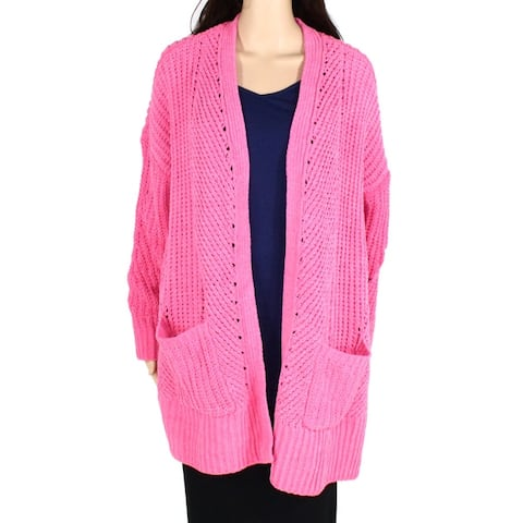 Style & Co Womens Sweater Pink Size 2X Plus Chenille Open Front Cardigan