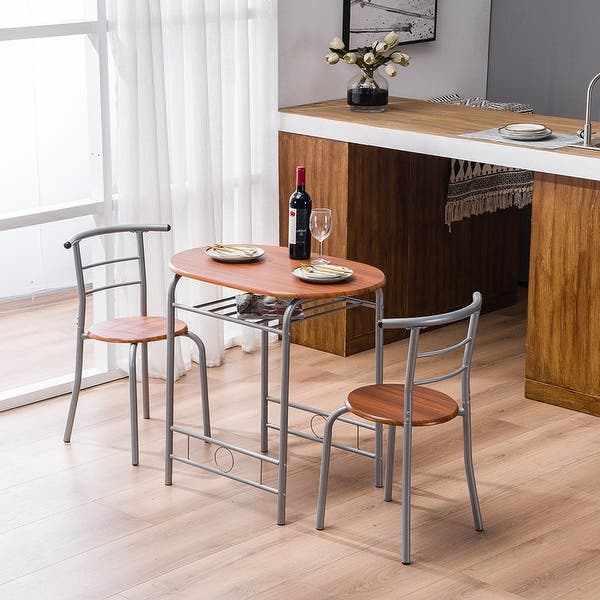 Breakfast Bar Table With 2 Bar Stools Set Kitchen Counter With Bar Chairs Brown Overstock 32654434