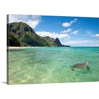 Premium Thick-Wrap Canvas entitled Sea turtle swimming on the surface of the water