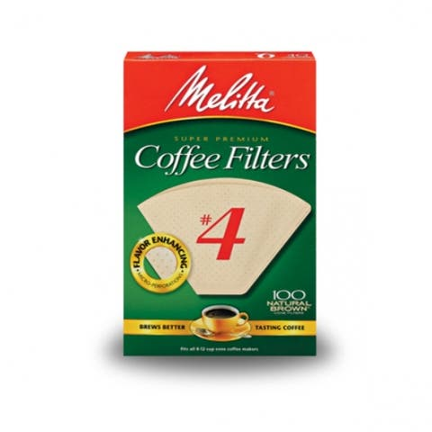 Melitta 624602 Cone Coffee Filters, Paper Natural Brown, #4, 100 Count