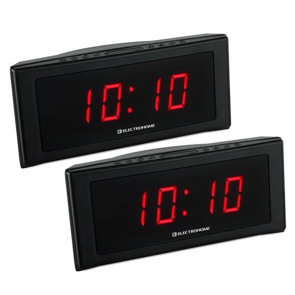 "Electrohome 1.8"" Jumbo LED Alarm Clock Radio with Battery Backup, Auto Time Set, Digital AM/FM Tuner - 2 PACK"