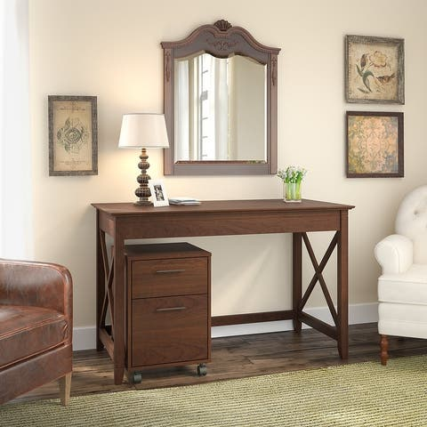 The Gray Barn Hatfield 48-inch Writing Desk with Mobile File Cabinet
