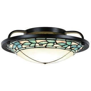 """Dale Tiffany TH15475LED Green Leaves Single Light 14"""" Wide LED Semi-Flush Mount Ceiling Fixture with Tiffany Glass Shade"""