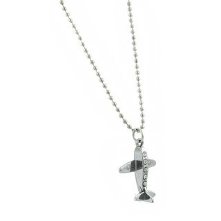 Chrome Bead Chain Necklace with Rhinestone Airplane Pendant - Silver