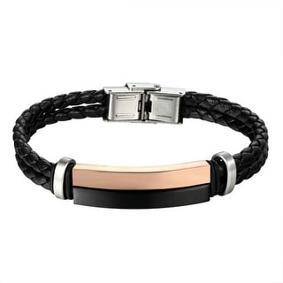 Black Braided Leather Bracelet 2 Row Rose Black Bar Design Stainless Steel 11mm