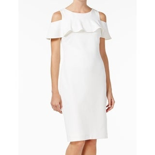 Calvin Klein NEW White Ivory Womens Size 2 Cold-Shoulder Sheath Dress