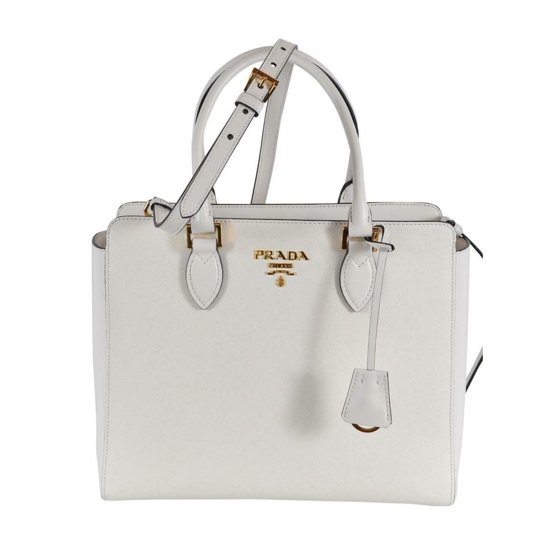 Prada 1ba189 Borsa A Mano Bianco White Saffiano Leather 2 Way Purse Tote Bag Off