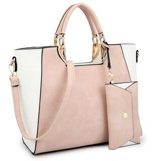 Dasein Women's Fashion Designer Color Block Satchel Tote Shoulder Bag Handbag Purse w/ Removable Coin Purse