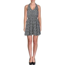 Aqua Womens Juniors Halter Printed Sundress