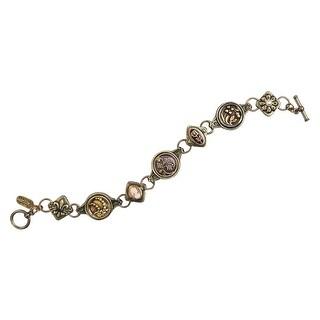 "Women's Victorian Buttons Bracelet - Bronze Plated - Adjusts 7""-7.75"" - Gold"