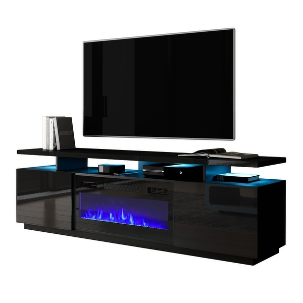 Mobile Furniture Eva-KBL Electric Fireplace Modern 71-inch TV Stand. Opens flyout.