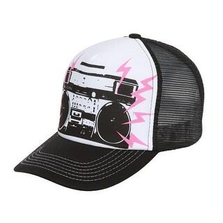 Boombox Mesh Trucker Hat - Black w/ White