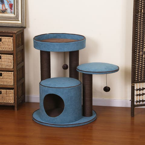 Petpals-Meadows Cat Tree with Spacious Perches, Green