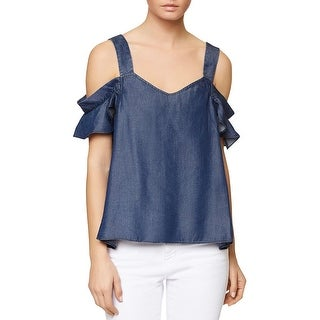 Sanctuary Womens Casual Top Denim Cold Shoulder
