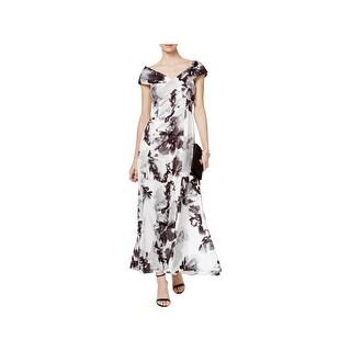 Tahari ASL Womens Formal Dress Satin Floral Print
