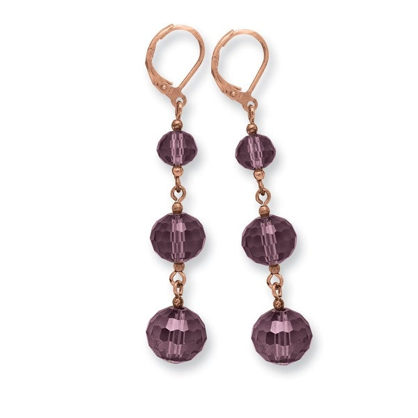 Rosetone Purple Crystal/Rose Flower Decal Drop Earrings
