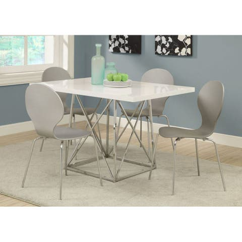 """Offex White Glossy / Chrome Metal 36"""" x 48"""" Dining Table"""