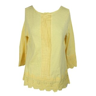 Charter Club Petite Lemon Yellow Crochet-Trim Cotton Top PL