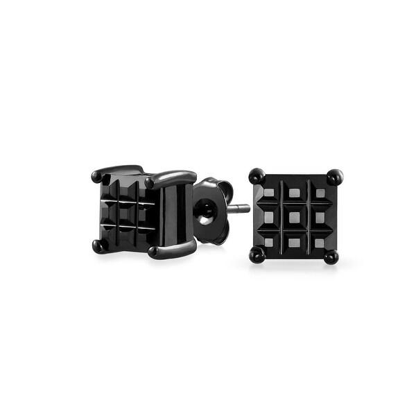 6d79f818c Basket Set Mens Womens Basic Cubic Zirconia Invisible Cut Black CZ 925  Sterling Silver Stud Earrings