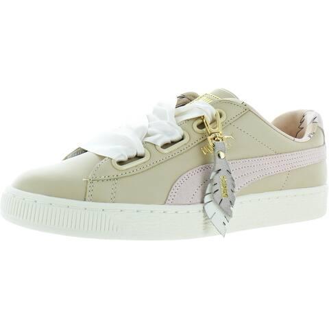 Puma Womens Basket Heart Fashion Sneakers Leather/Suede Combo Lifestyle - Semolina