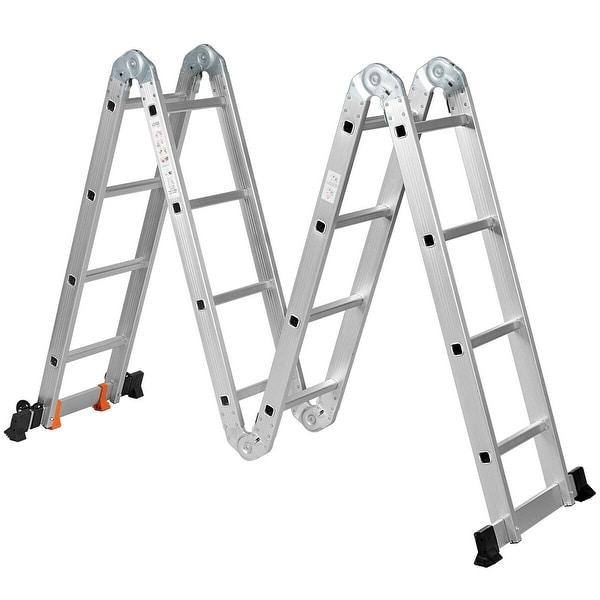 15.5' 16-Step Multi Purpose Aluminum Folding Scaffold Ladder