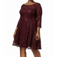 SLNY Purple Women's Size 20W Plus Sequined Lace A-Line Dress