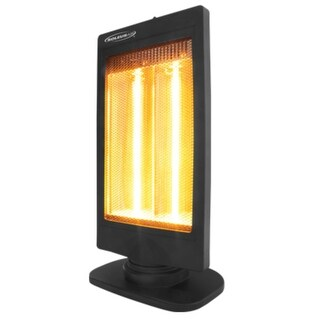 Soleus HE08-R3-21 Halogen Heater With Flat Panel Design and 2 Heat Settings - Black