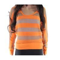 Alternative Orange Women's Size Large L Striped Scoop Neck Sweater