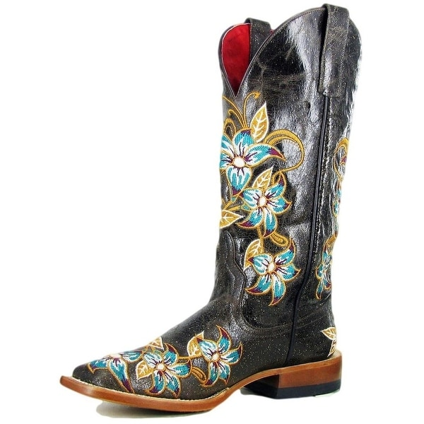 Macie Bean Western Boots Womens Leather Floral Lily-Ana Brown