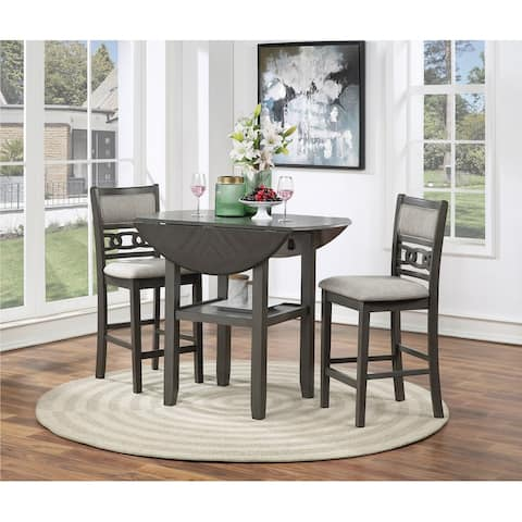 "Gia 42"" Counter Drop Leaf Table W/2 Chairs-gray"