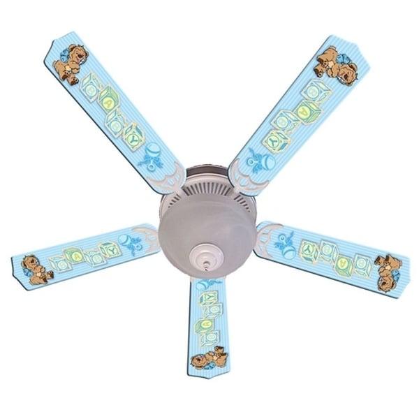 Blue Teddy Bear and Blocks Print Blades 52in Ceiling Fan Light Kit - Multi